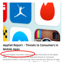 Appfail report from the Norwegian Consumer Services
